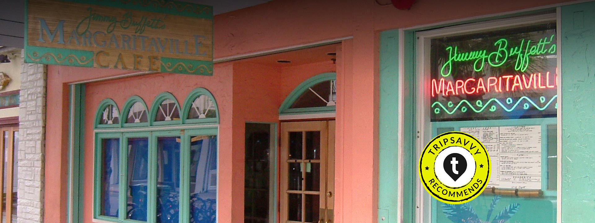 Restaurant entrance and the wall of coral color
