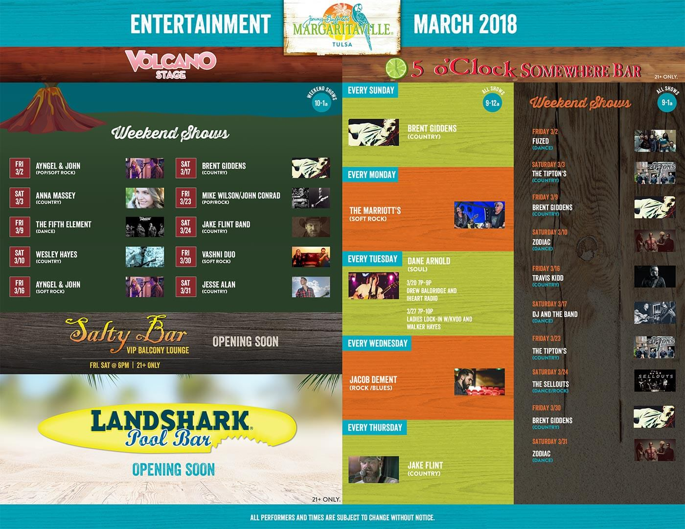 Margaritaville Tulsa March Calendar of Events
