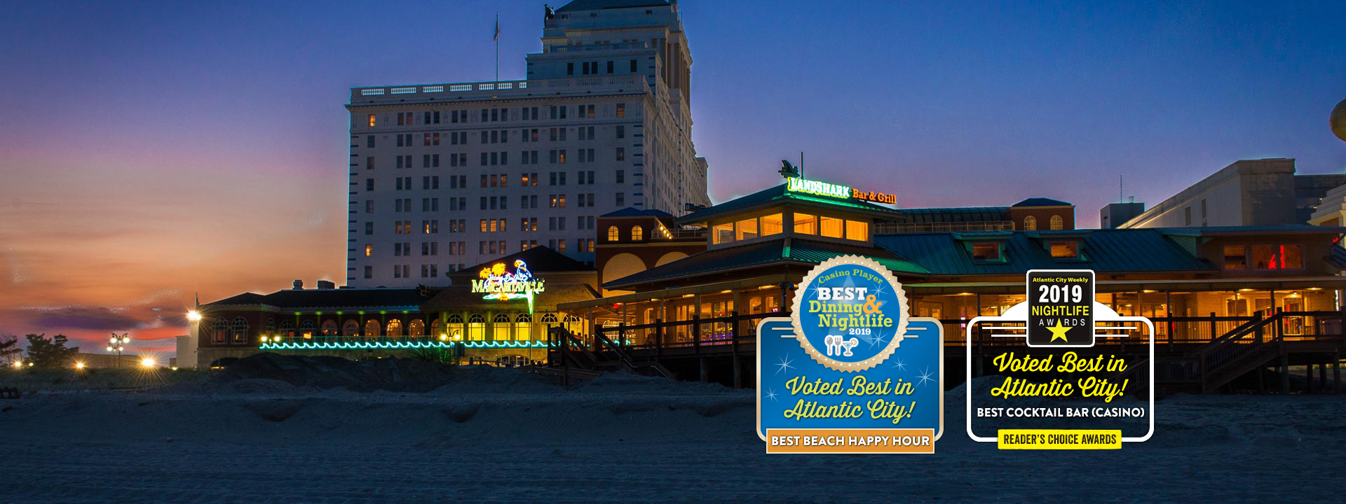 Restaurant building and text: Voted best in Atlantic city! Best cocktail bar (casino). Reader's choice awards