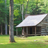 Historic log house on the edge of the forest