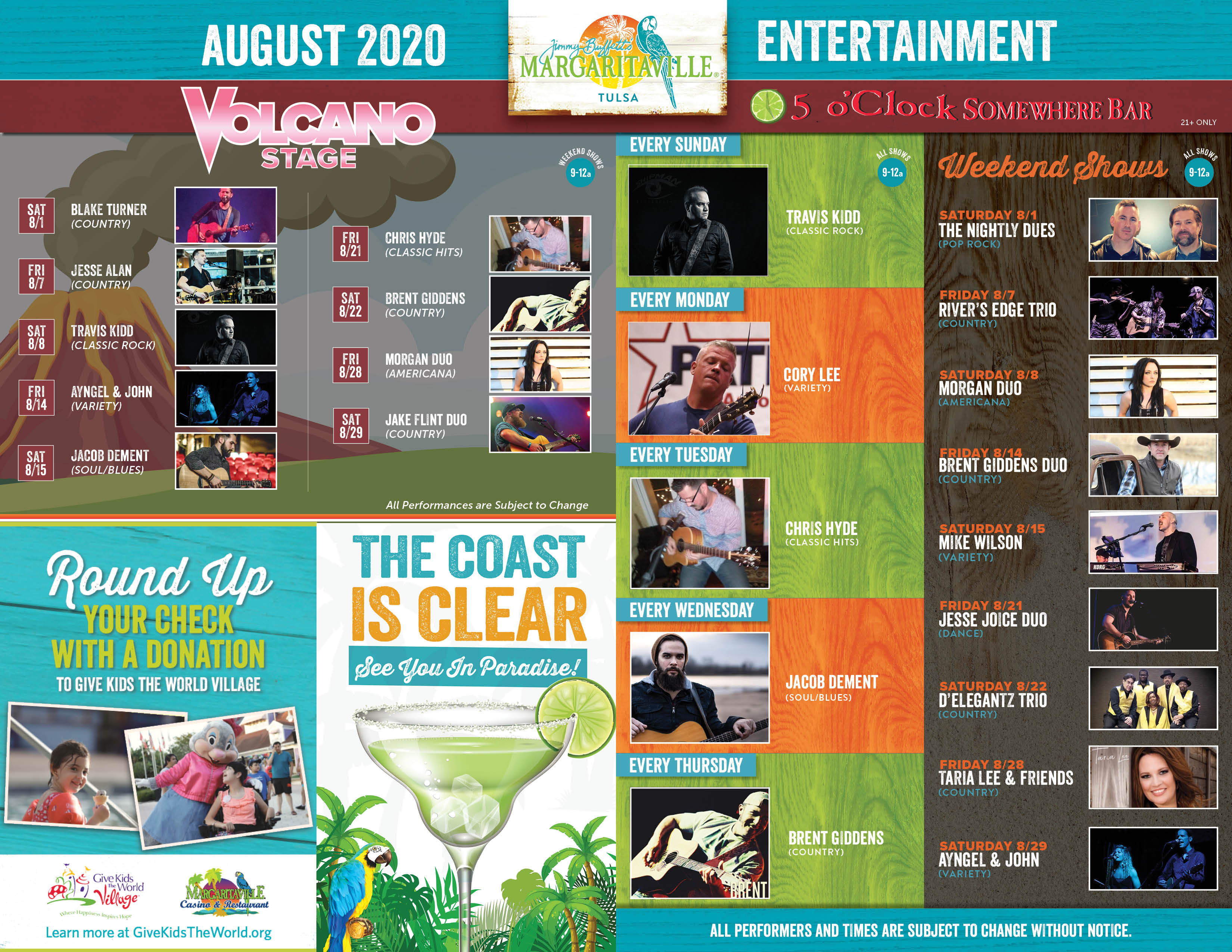 Margaritaville Tulsa August 2020 Calendar of Events. Visually impaired customers please call for assistance or read next tab