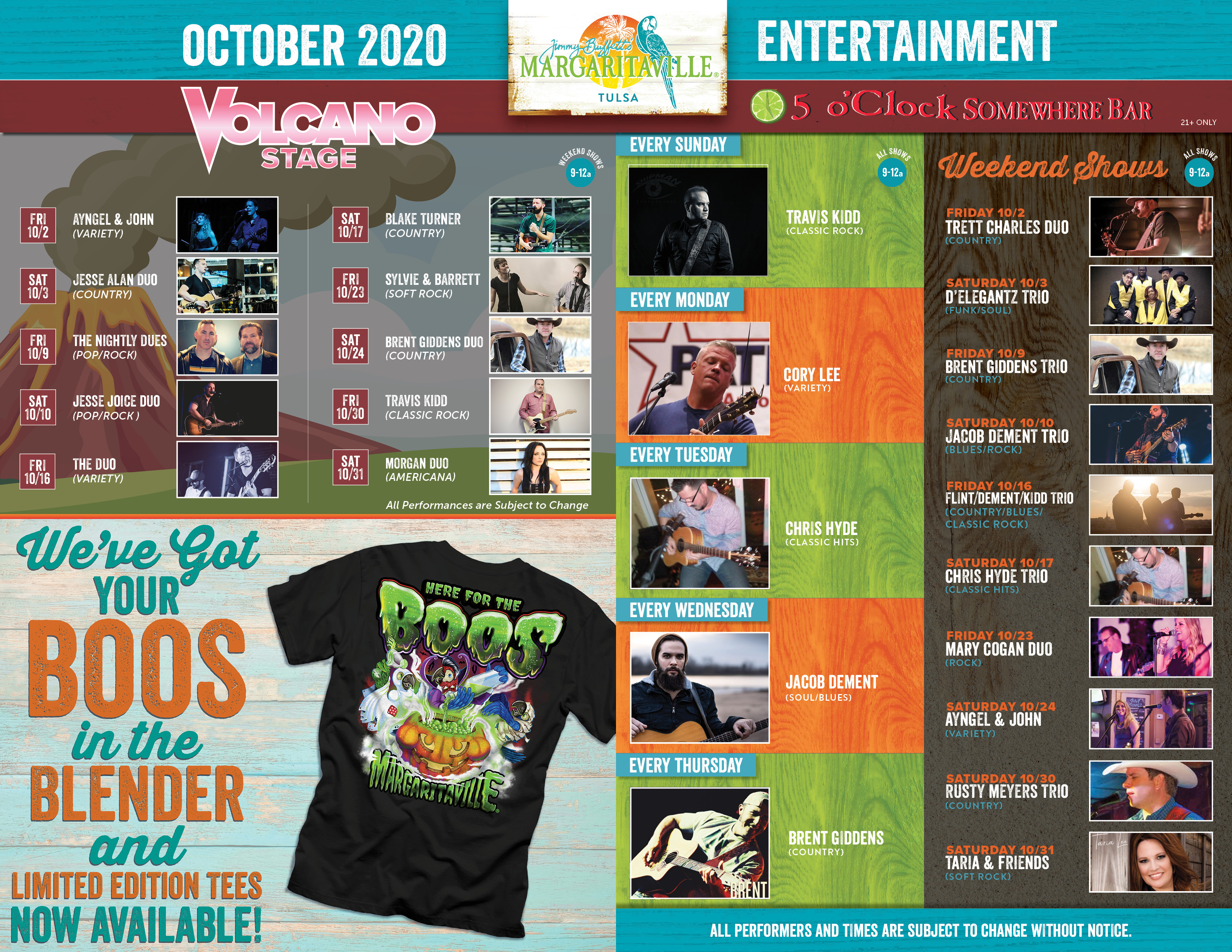 Margaritaville Tulsa October 2020 Calendar of Events. Visually impaired customers please call for assistance or read next tab