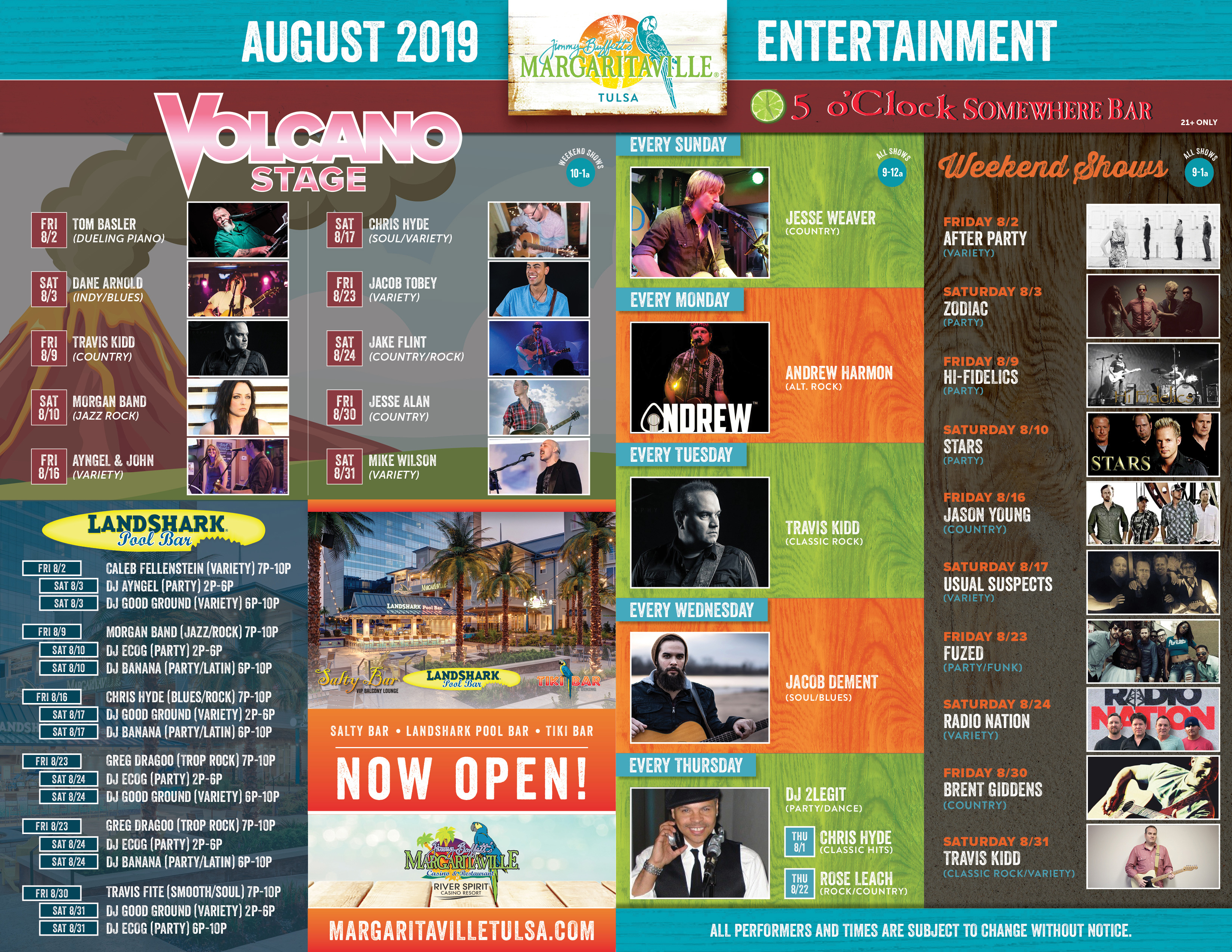 Margaritaville Tulsa August Calendar of Events. Visually impaired customers please call for assistance or read next tab