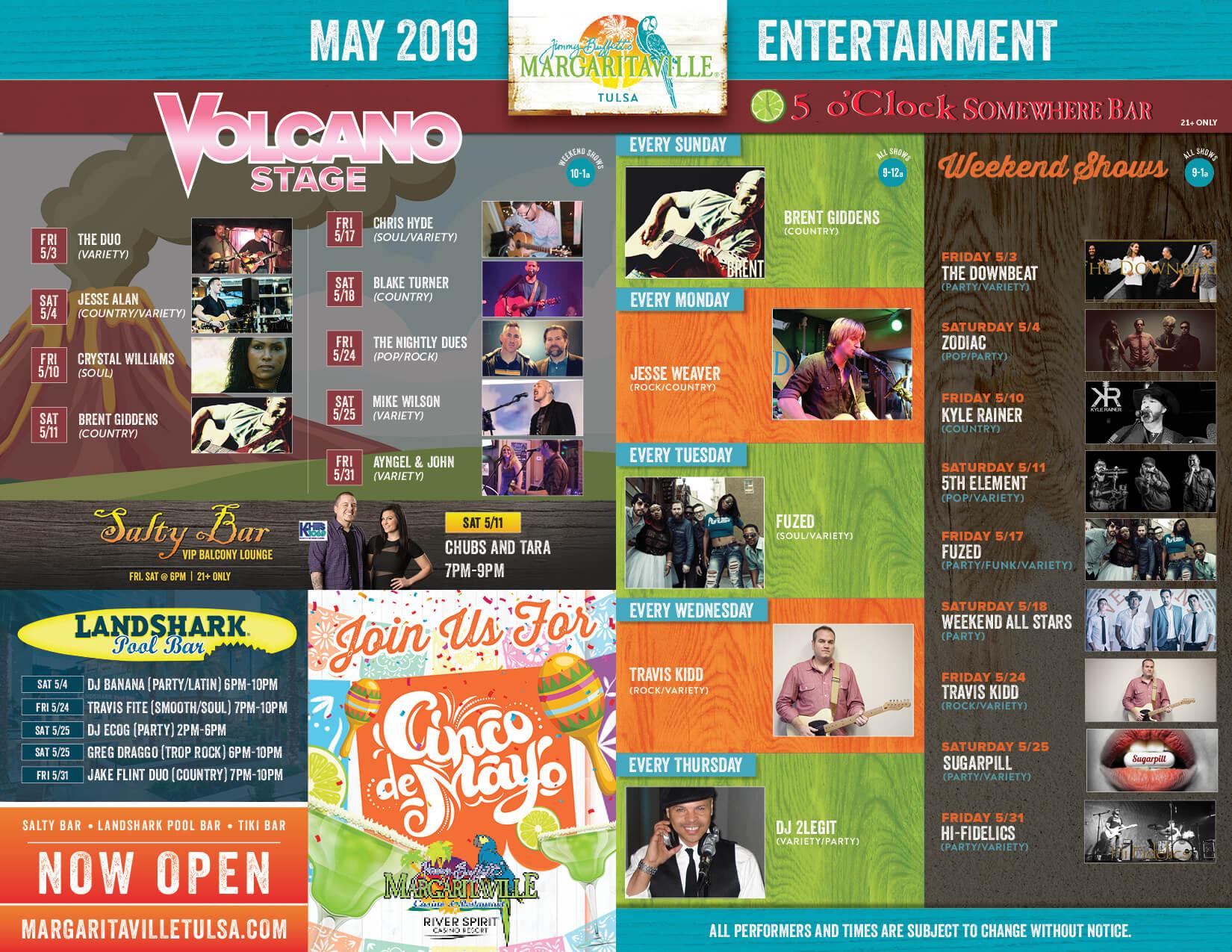Margaritaville Tulsa May Calendar of Events