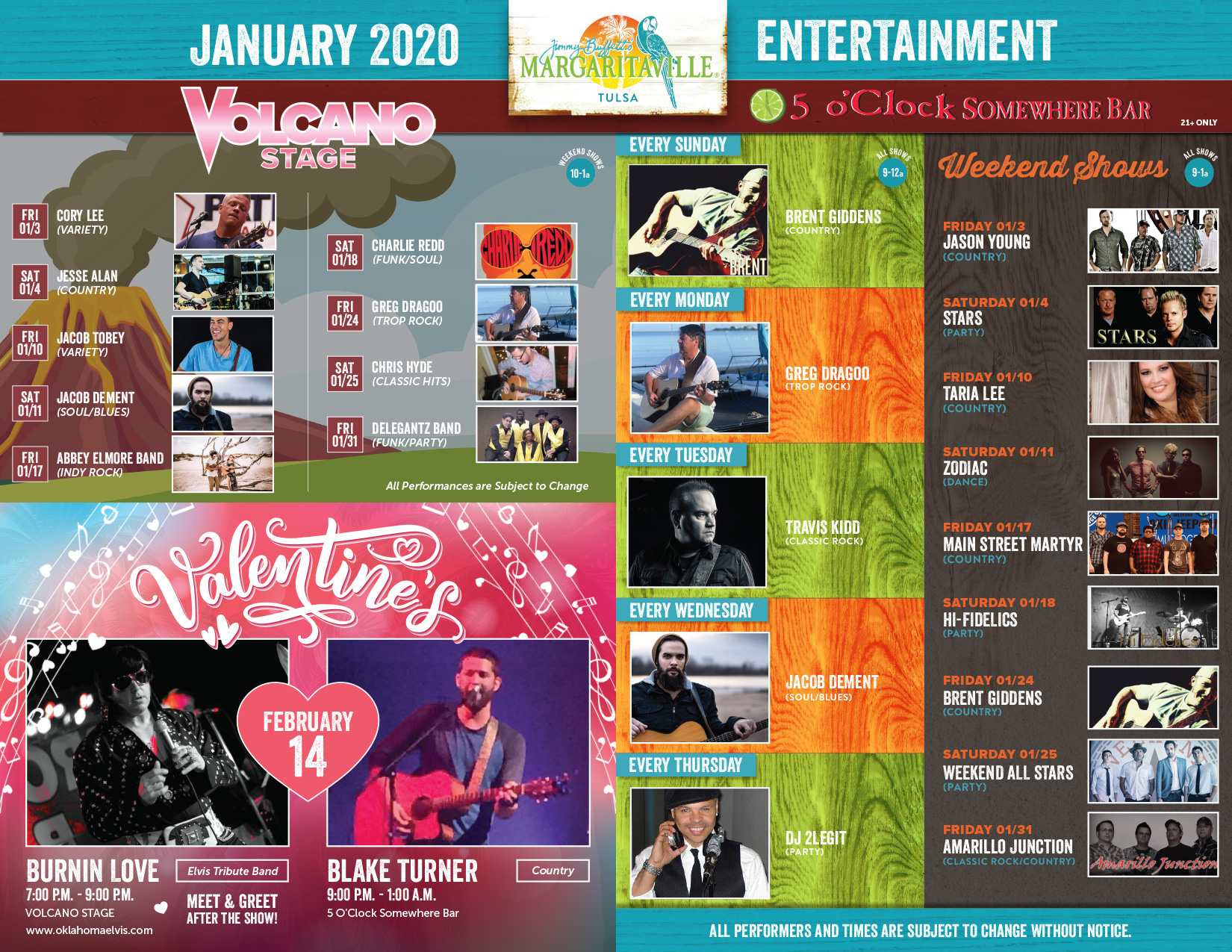 Margaritaville Tulsa December Calendar of Events. Visually impaired customers please call for assistance or read next tab
