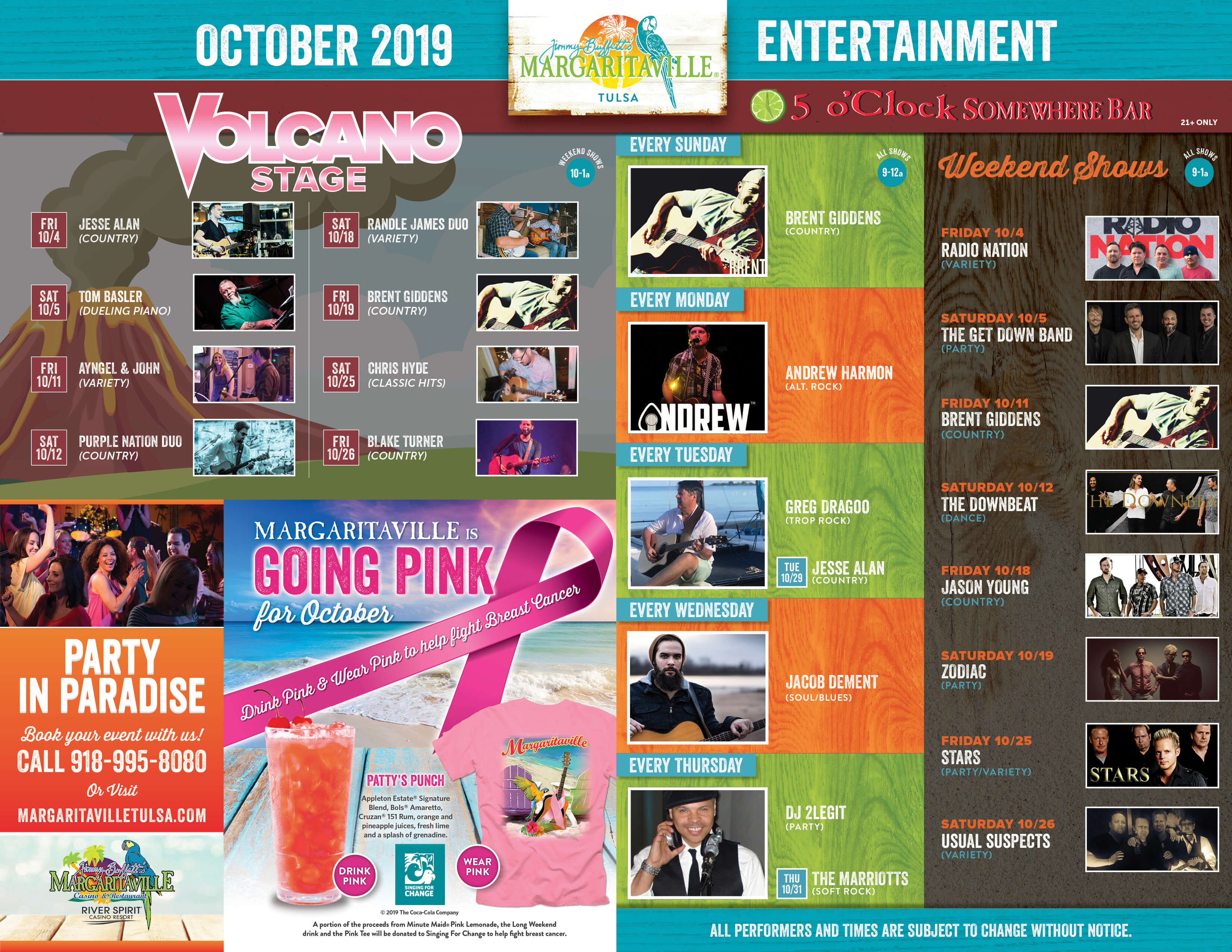 Margaritaville Tulsa October Calendar of Events. Visually impaired customers please call for assistance or read next tab
