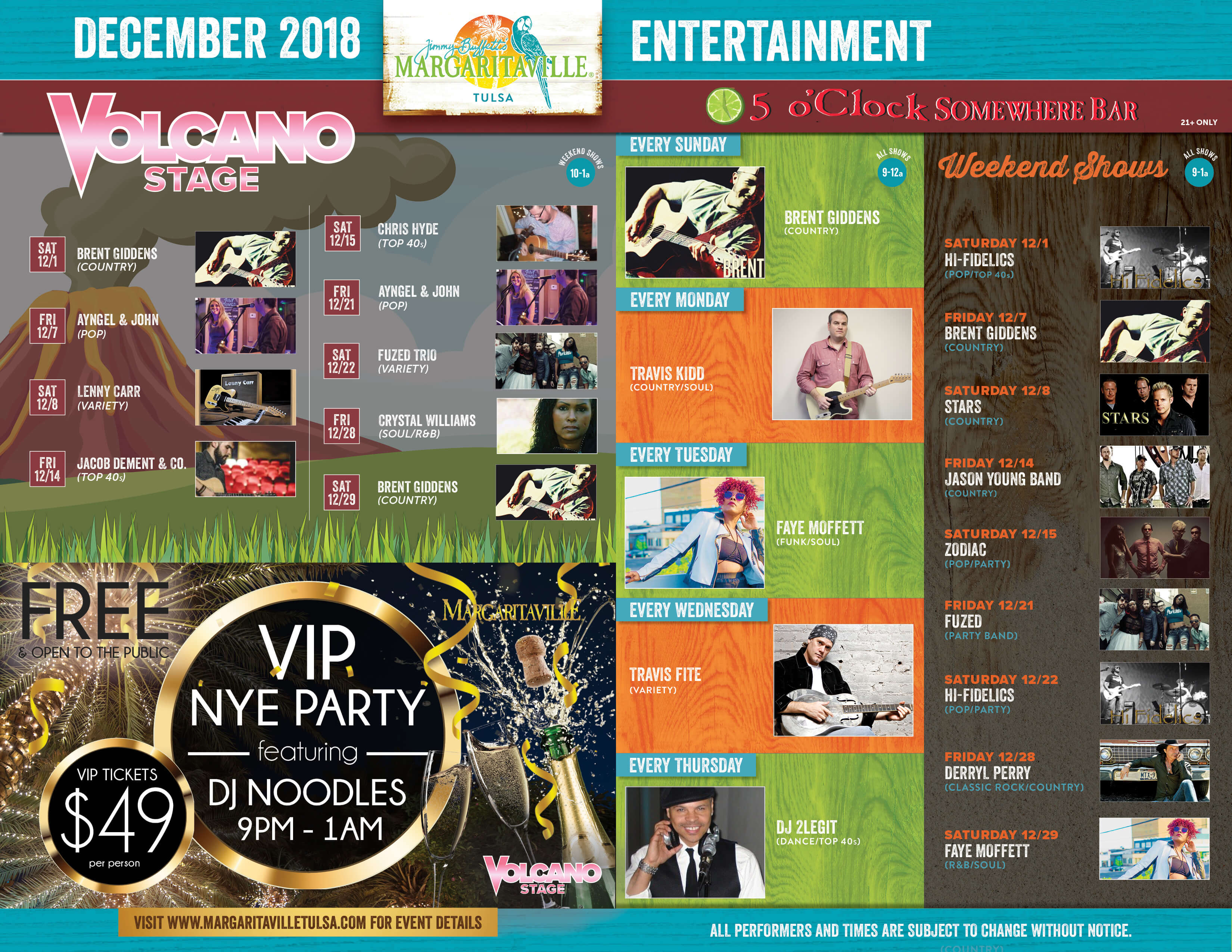 Margaritaville Tulsa December Calendar of Events