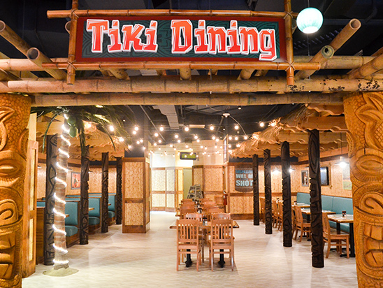 TIKI DINING Interior with tables and chairs