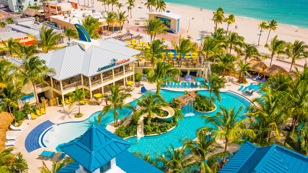 Margaritaville Hollywood Beach Resort overlooking the pool, ocean, and LandShark Bar and Grill