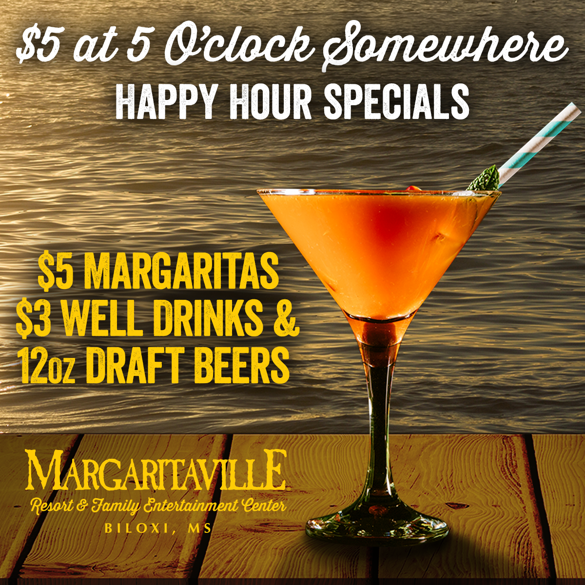 Happy Happy Hour Biloxi! Monday thru Friday from 5pm to 8pm.