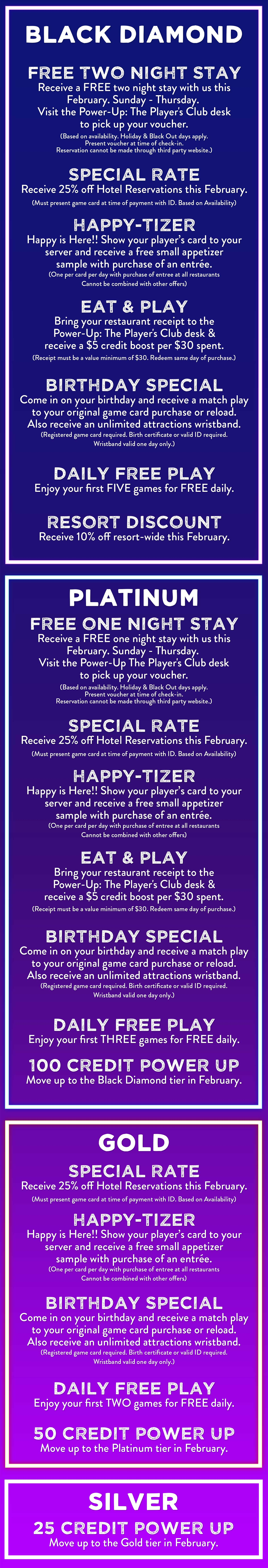 Prizes and Giveways for February! Call Margaritaville for Power-Up the Player's Club desk for the latest deals, prizes and giveaways.