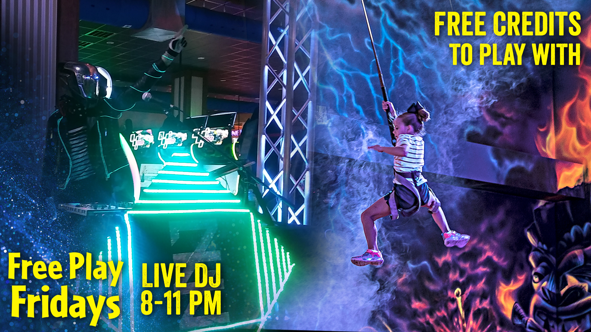 Free play fridays at Margaritaville. Free credits to play with and a live dj dance party