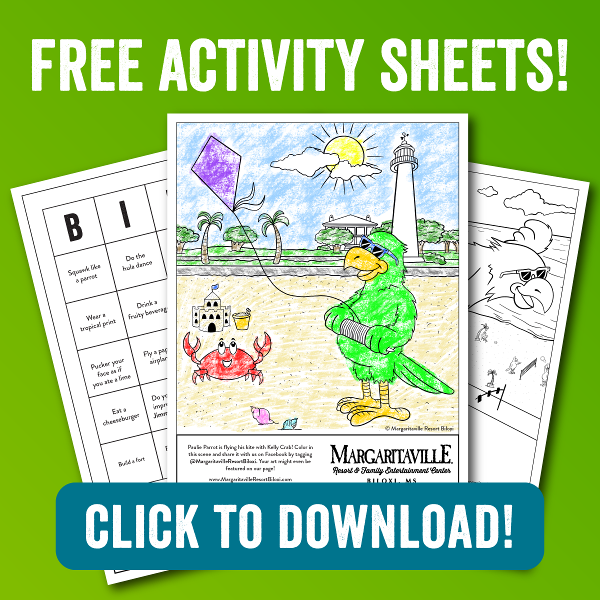 Free activity sheet download button