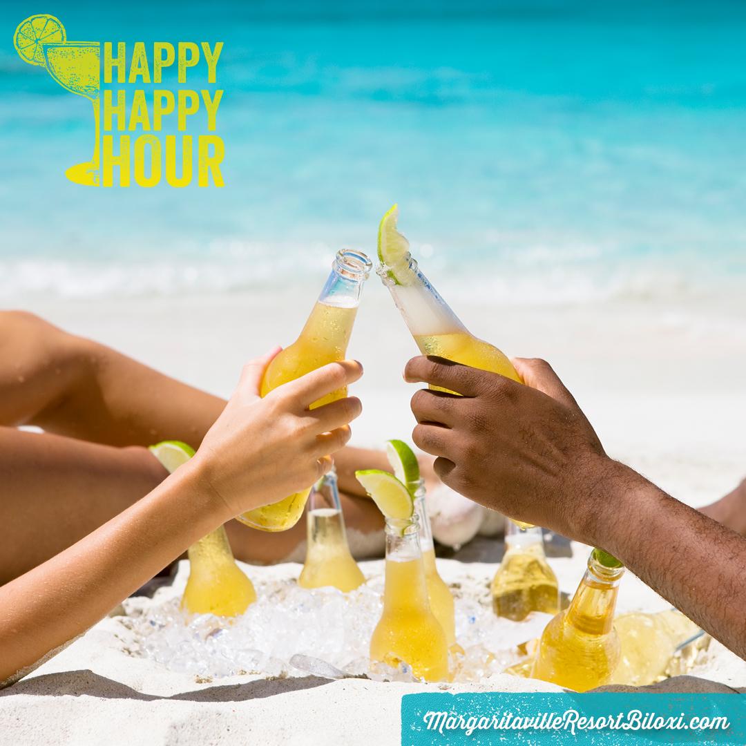 Happy Happy Hour! Monday thru Friday from 5pm to 8pm. Enjoy 1/2 Price Who's to Blame Margaritas & $3 LandShark Drafts resort-wide! At Doe's Eat Place, enjoy a 1/2 House Margarita & $3 LandShark Bottles!