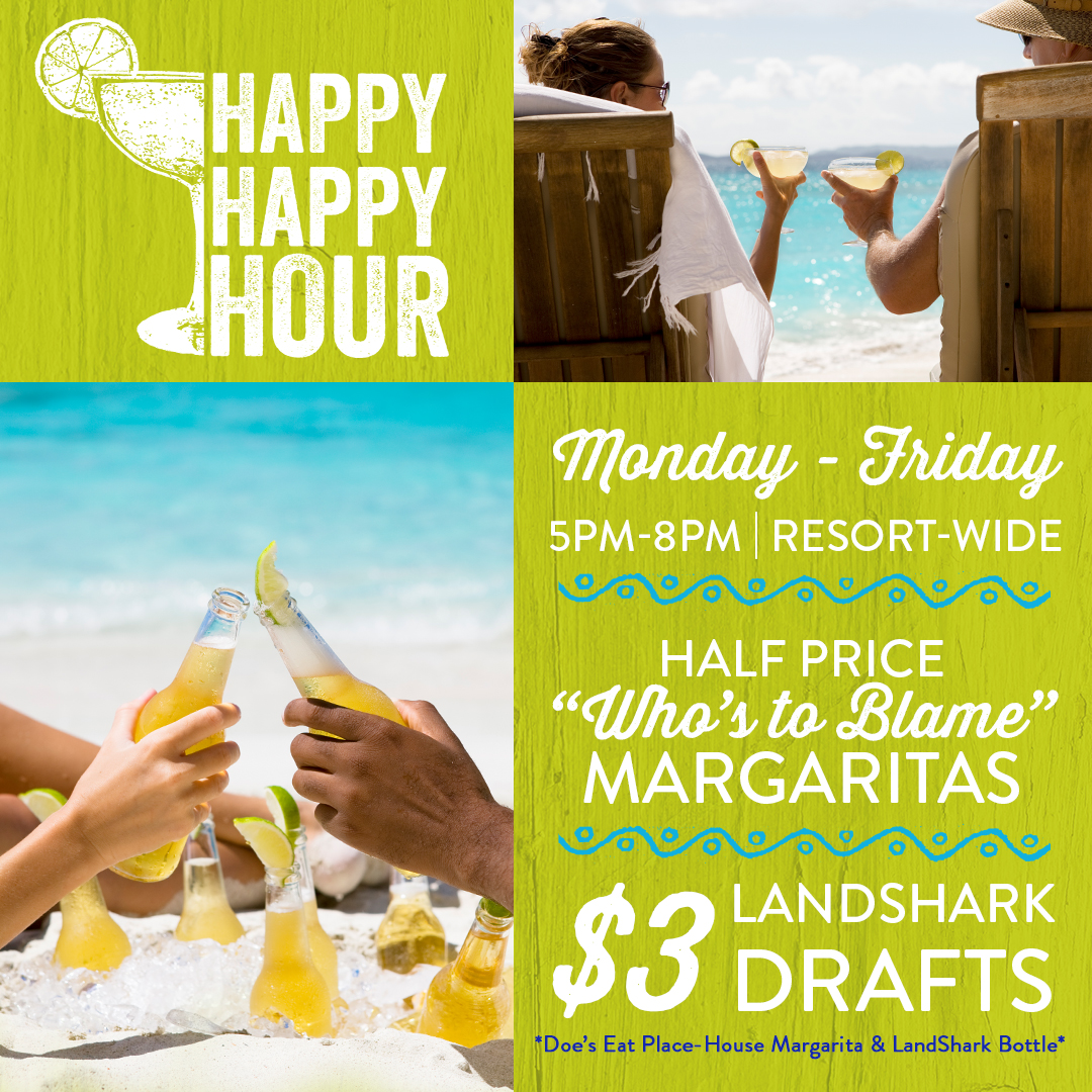 Happy Happy Hour! Monday thru Friday from 5pm to 8pm. $3 landshark draft beer and half price who's to blame margaritas. Does Eat Place half price house margaritas and $3 landshark bottles.