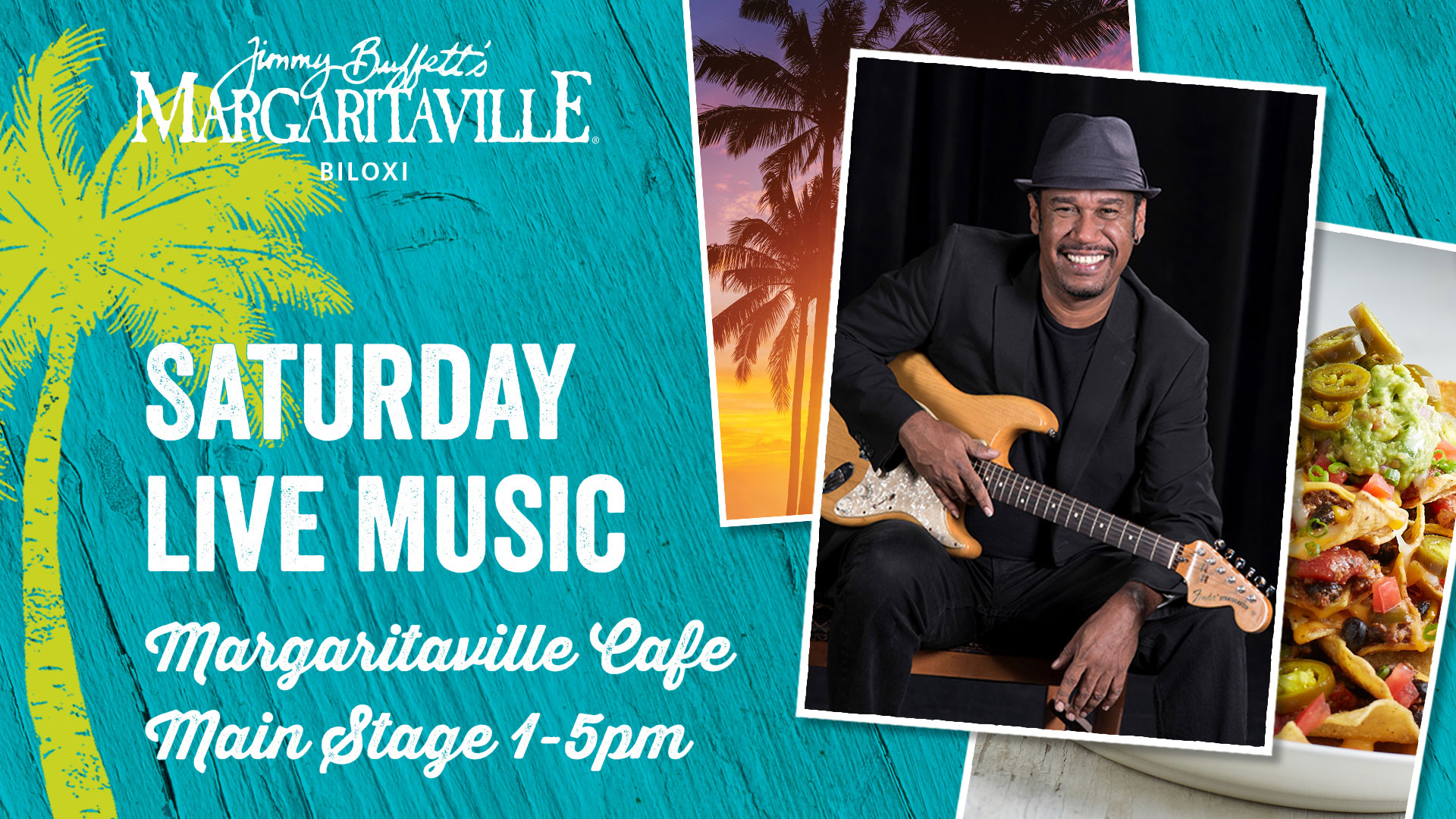 Anderson Domingues plays at the Margaritaville Cafe main stage every Saturday from 1pm to 5pm