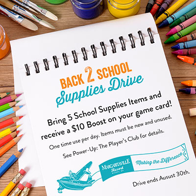 Bring 5 school supplies items and receive a $10 boost on your game card! One time use per day. Items must be new and unused. See Power-Up: The Player's Club for details. Drive ends August 30th.