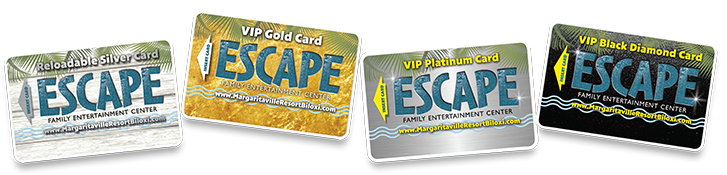 VIP Escape Cards from silver, gold, platinum and Black diamond.