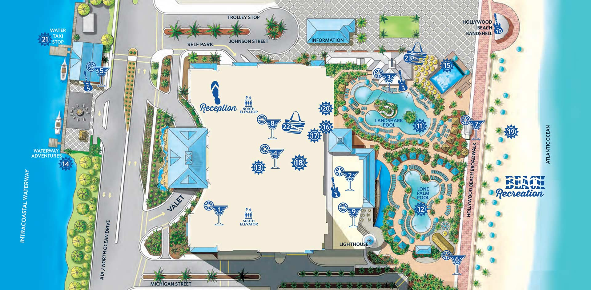 Birdseye illustration of the resort. Visually impaired customers please call for assistance