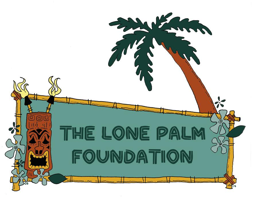 image of the lone palm foundation logo featuring a banner in green lettering and an image of a brown tiki god