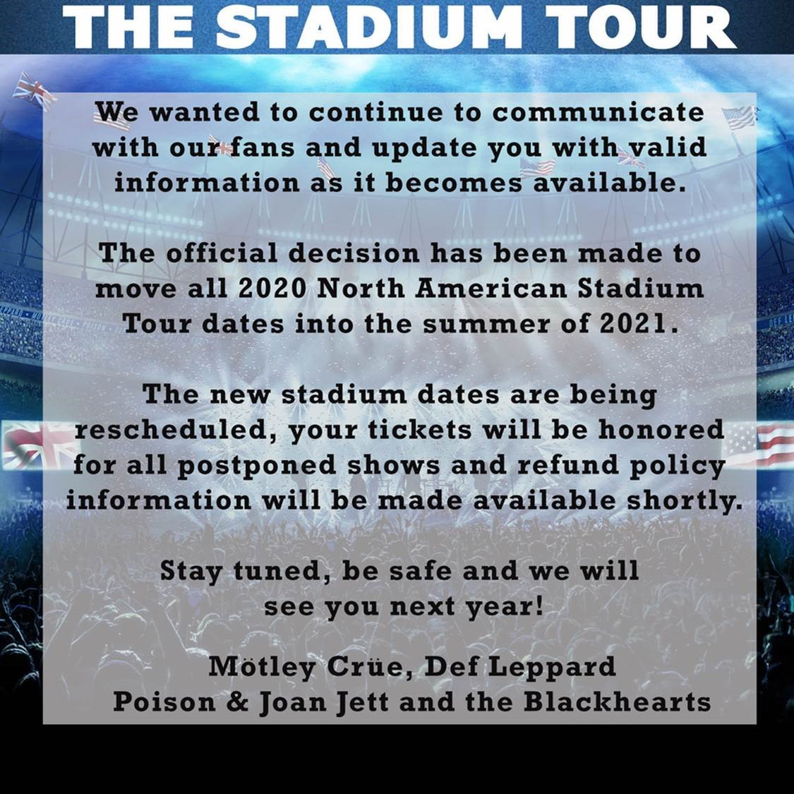 Stadium Tour Update