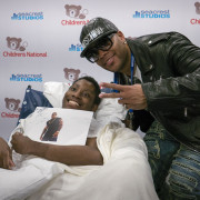 Hip hop artist Flo Rida and The Kane Show visit Children's National patients at the Seacrest Studios.