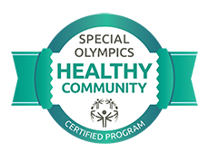 image of the Special Olympics Healthy Community logo in a green circular ribbon shape