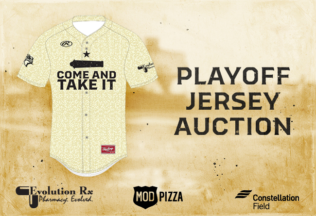 Skeeters to Auction Off Game-Worn 'Come and Take It' Postseason Uniforms