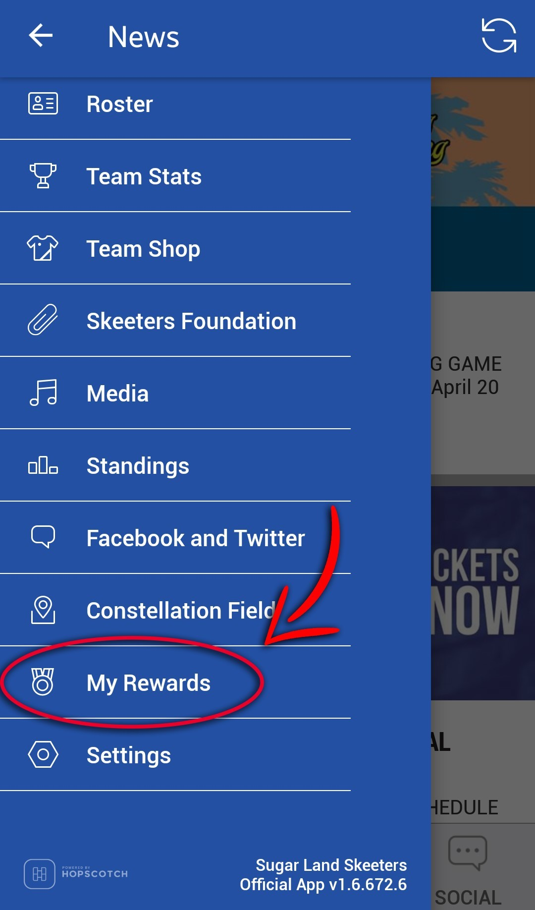 image of the settings panel for My Rewards option