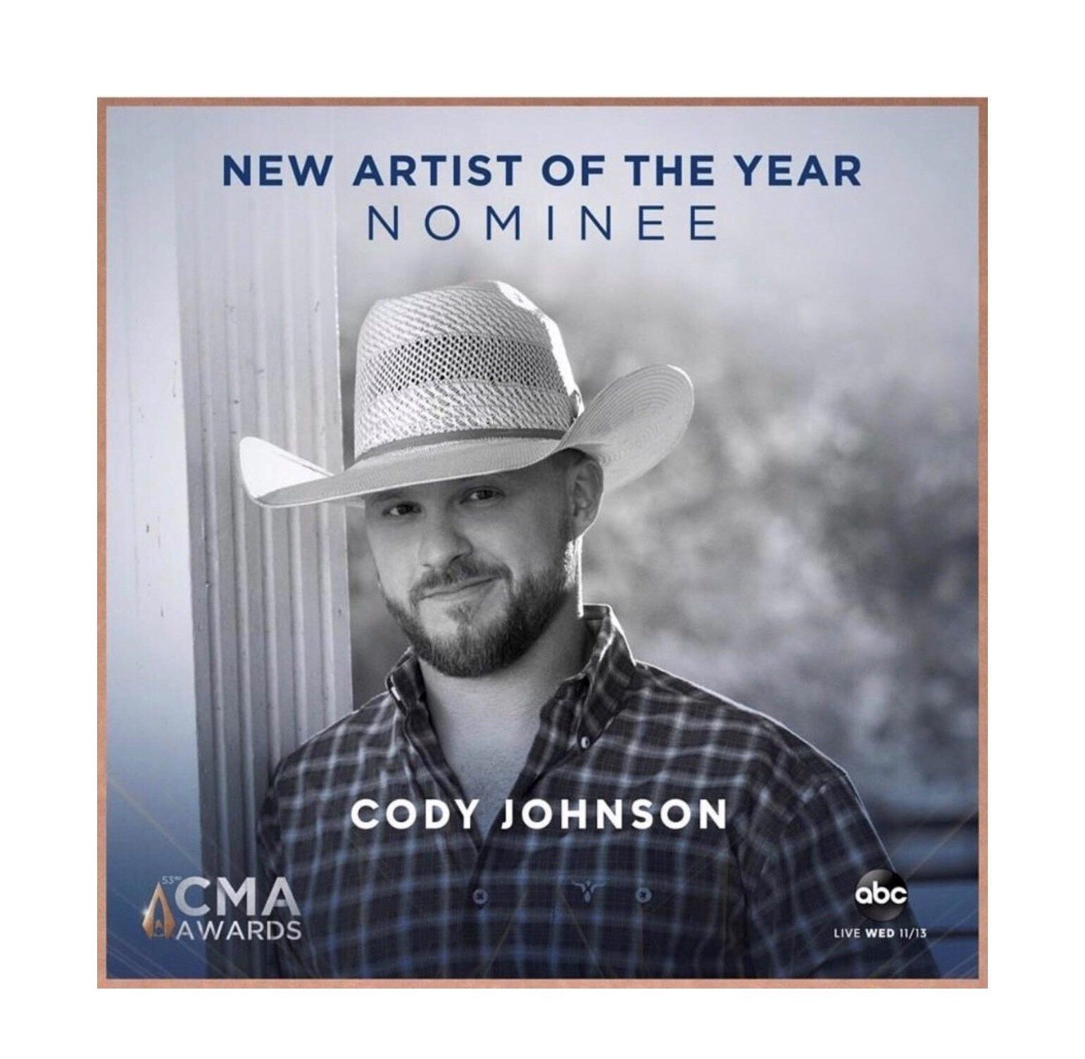 Cody Johnson Picks Up 2019 CMA Nomination for  New Artist of the Year