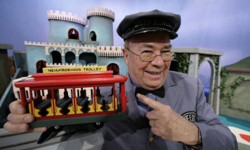 Pennsylvania_PA_Rogers_Titan_3  David Newell as Mr. McFeely holds a replica of the neighborhood trolley in front of King Friday's castle in the Neighborhood of Make-Believe in the Fred Rogers studio at WQED in Pittsburgh Wednesday, November 4, 2009. (AP Photo/Gene J. Puskar)