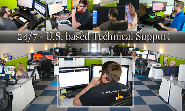 Photos collage People at computers and text on image: 24/7 U.S. based technical support