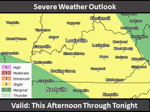 NWS Warns of Severe Weather Threat This Afternoon