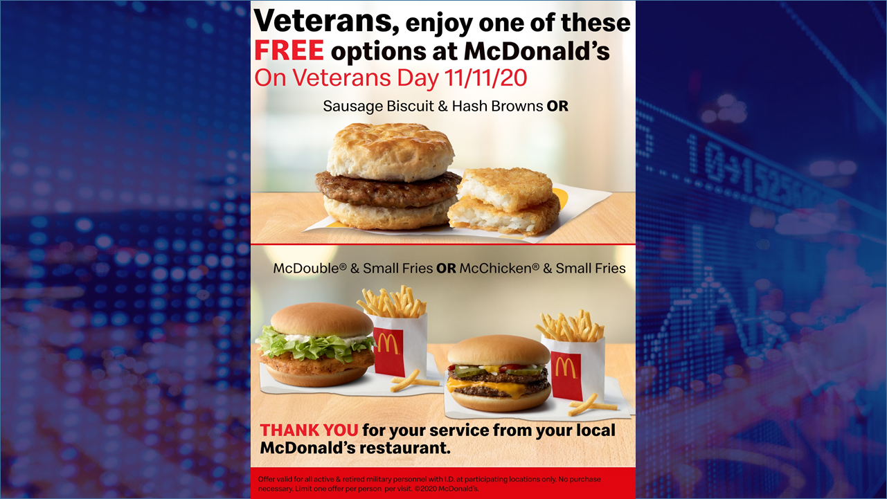 Dubois County McDonald's Restaurants Celebrating Veterans with Free Menu Items on November 11