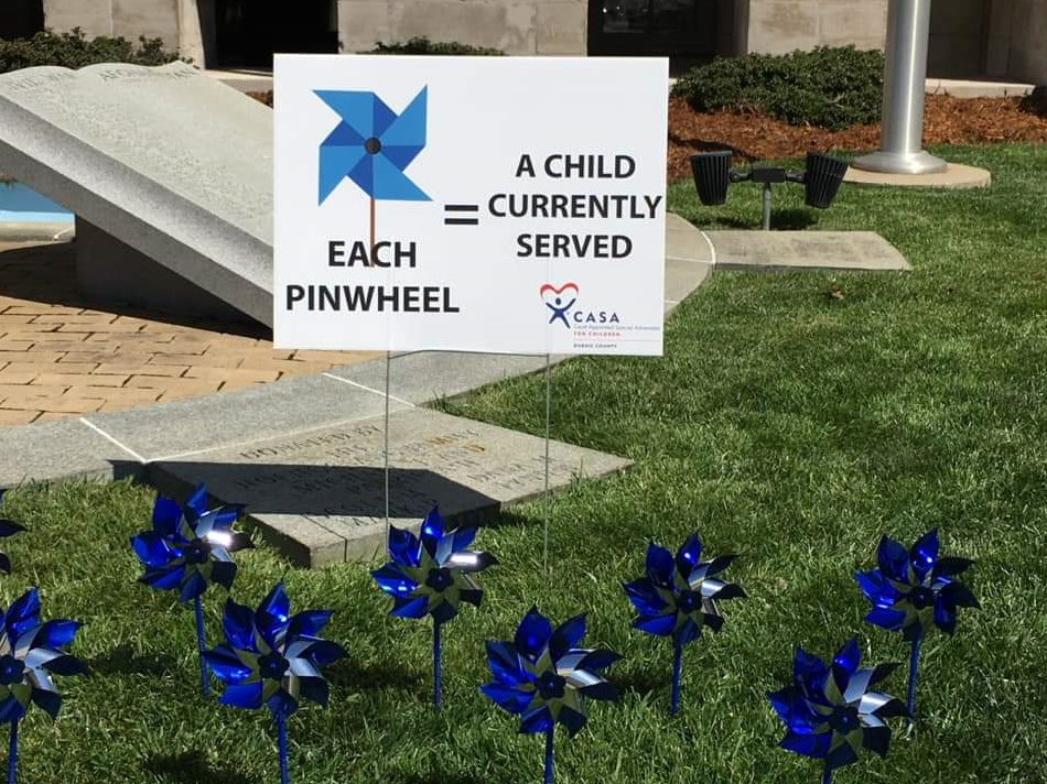 Dubois County CASA Places Pinwheels on Courthouse Square For Child Abuse Awareness Month