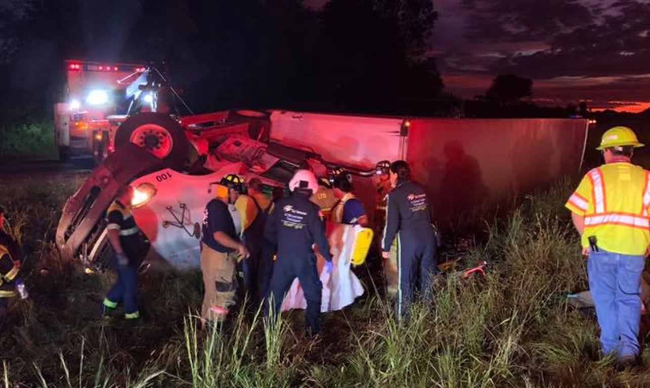 Minor Injuries For A Semi Driver After He Fell Asleep and Overturned on I-64 This Morning