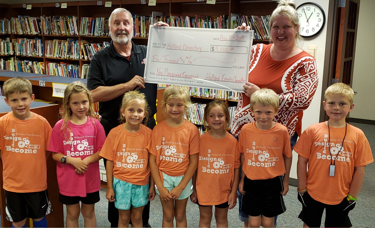 Holland Events Committee Donates $5,000 to Holland Elementary's New Playground Fund