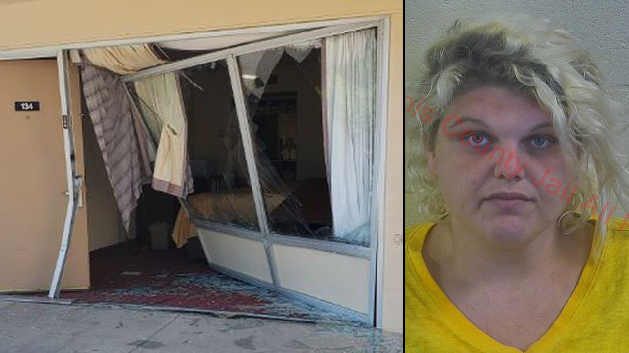 Woman Arrested After Allegedly Crashing Into Huntingburg Hotel and Fleeing the Scene
