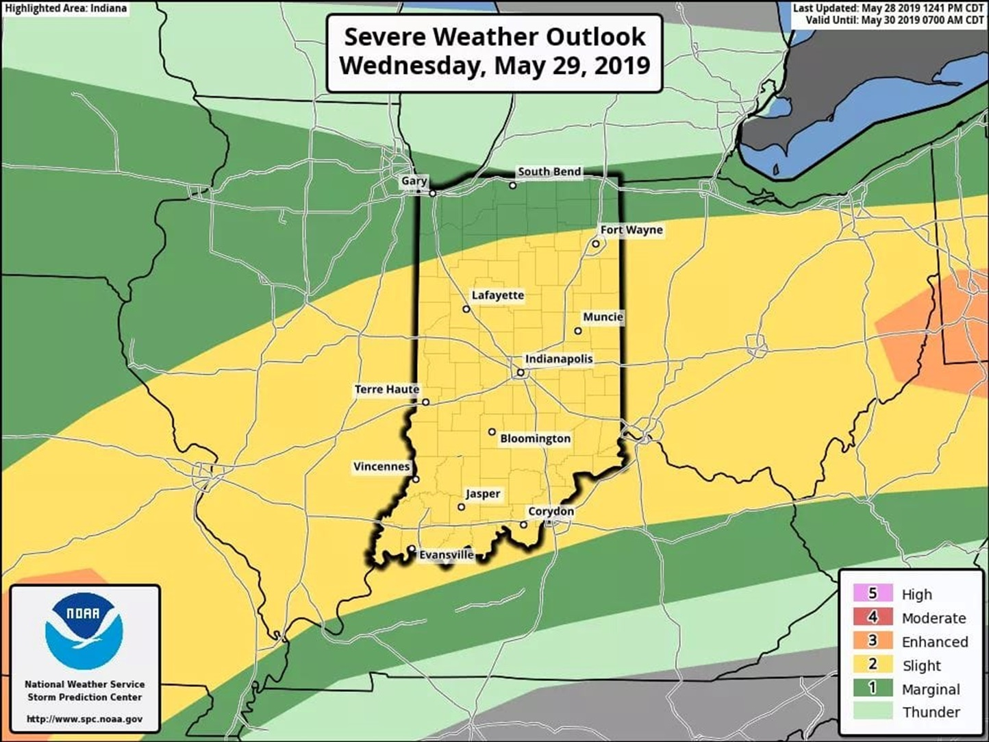 ALERT:  Be Aware of Severe Weather Threat Wednesday, Slight Risk Issued by Storm Prediction Center