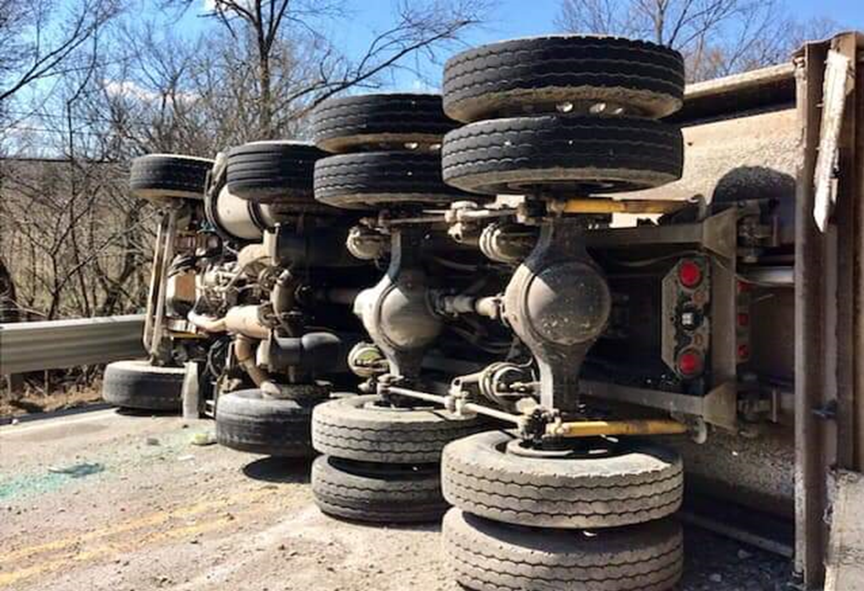 Distracted Semi Driver Overturns, Dumps 20 Tons of Gravel on US 150 Monday