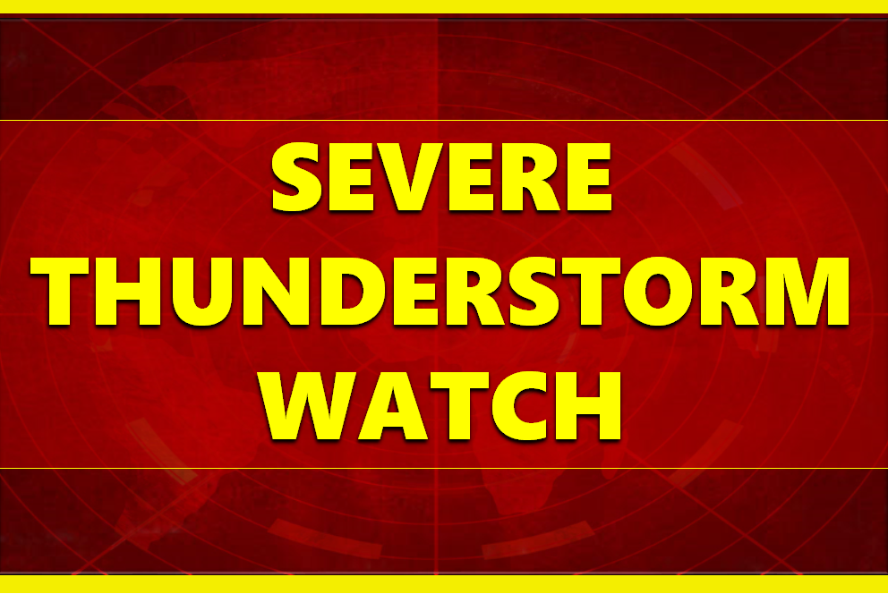 SEVERE THUNDERSTORM WATCH in Effect Through 6 p.m. Monday