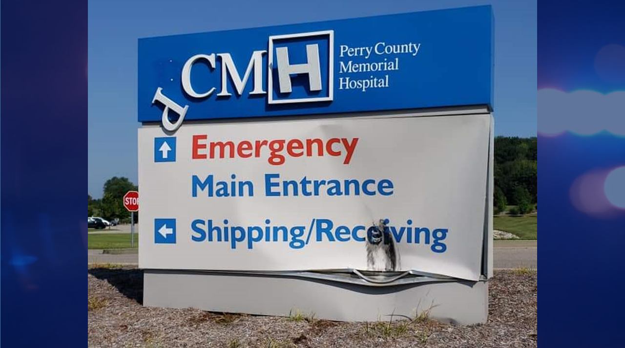 Do You Know Who Hit the Hospital Sign?  Perry County Deputies Want Your Help