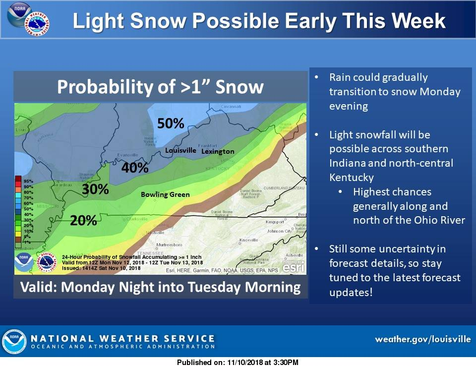 UPDATE:  Snow Possible Monday Night and It Could Impact Your Tuesday Morning Commute