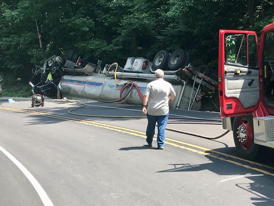 Truck Overturns on U.S. 150, Spills Hazardous Materials
