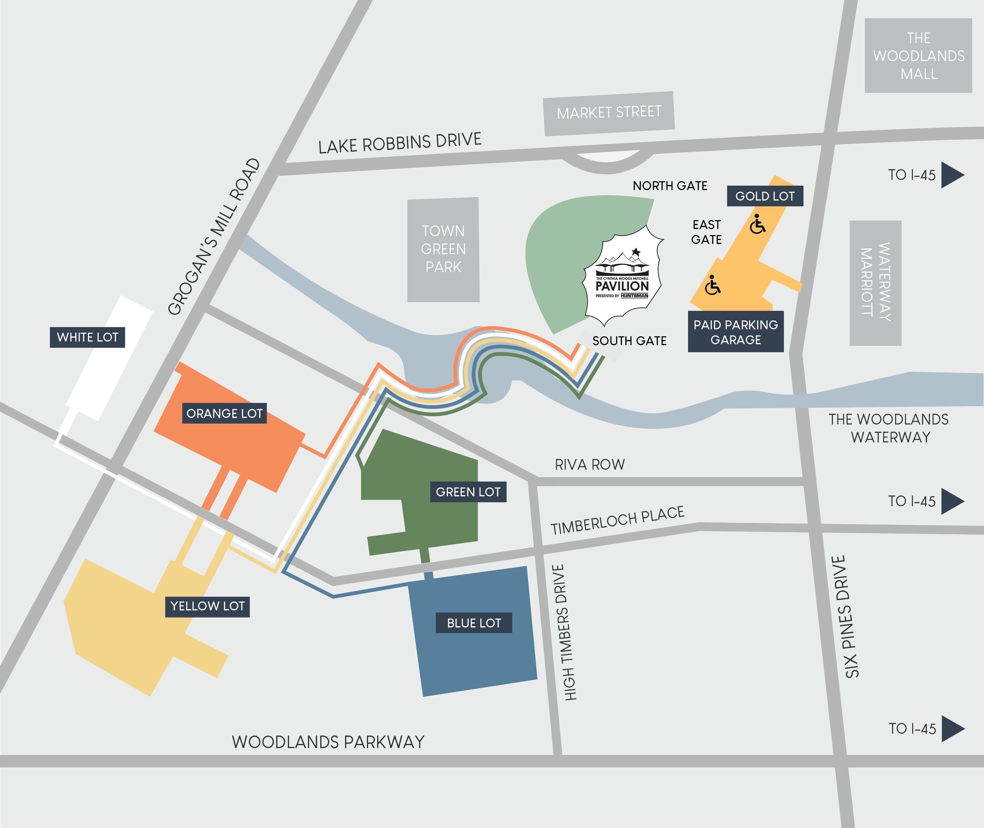 Pavilion Public Parking and Pathways Map