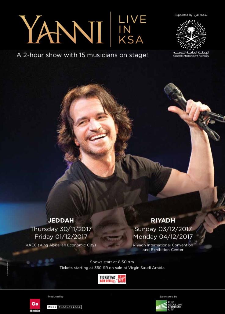 Yanni live in the Kingdom of Saudi Arabia!