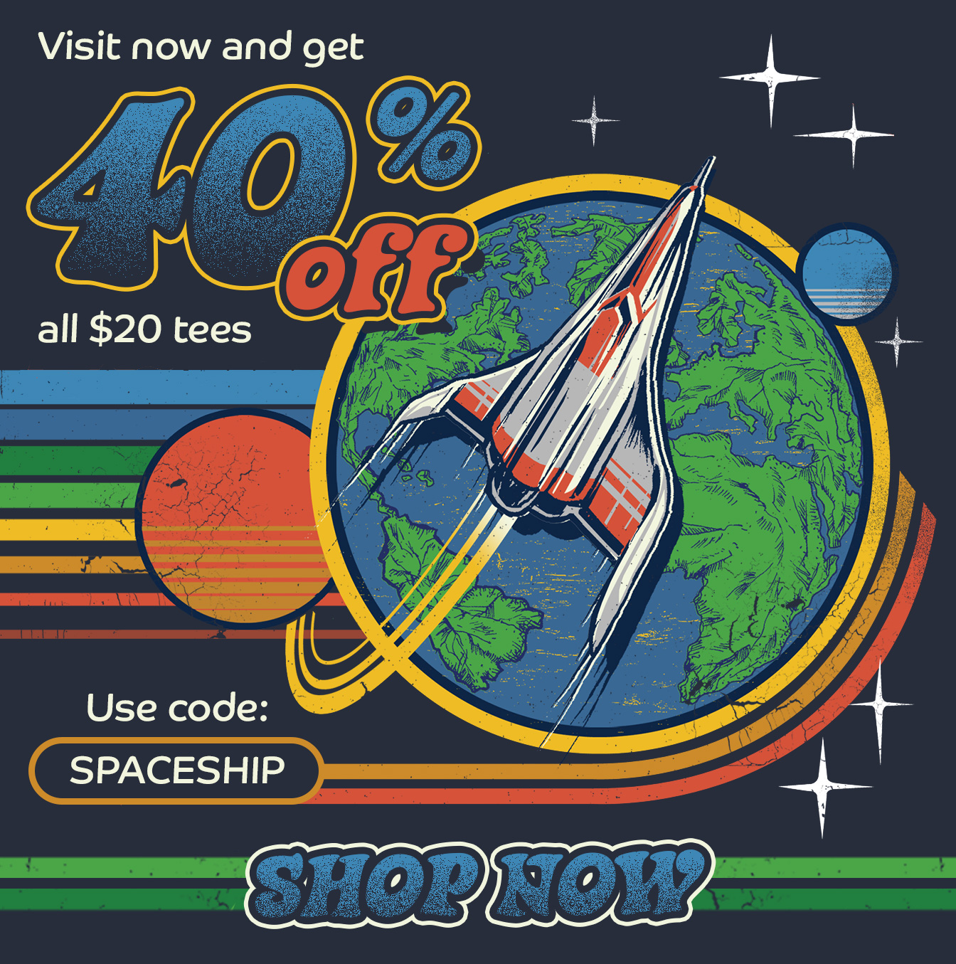 Get 40% off all $20 tees for a limited time with code SPACESHIP