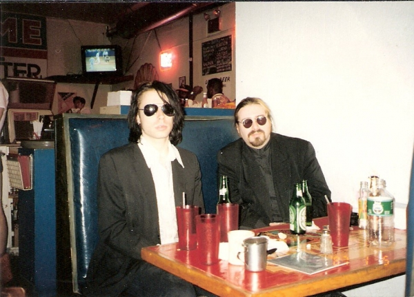 Peter Aaron and I before CMJ gig NYC '93