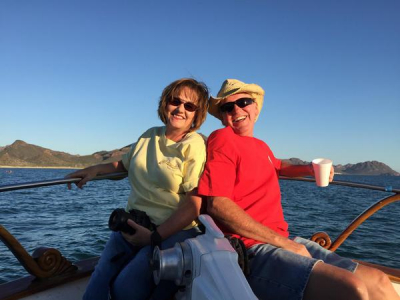 My beautiful wife and I on a dolphin cruise in San Carlos Mx