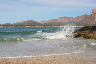 Waves crashing at Soggy Peso beach area in San Carlos